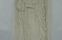 Преподобный Серафим Саровский с моделью храма в Федино